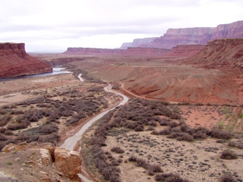 The historic river crossing of Lee's Ferry marks an important and heavily debated geologic transition from the Canyonlands of the Colorado Plateau to the steep Grand Canyon.