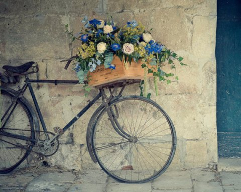"""Bicycle Photography, Travel, Bicycle, Flowers, France, Teal Blue, 8x10, """"Bike In Pujols"""""""