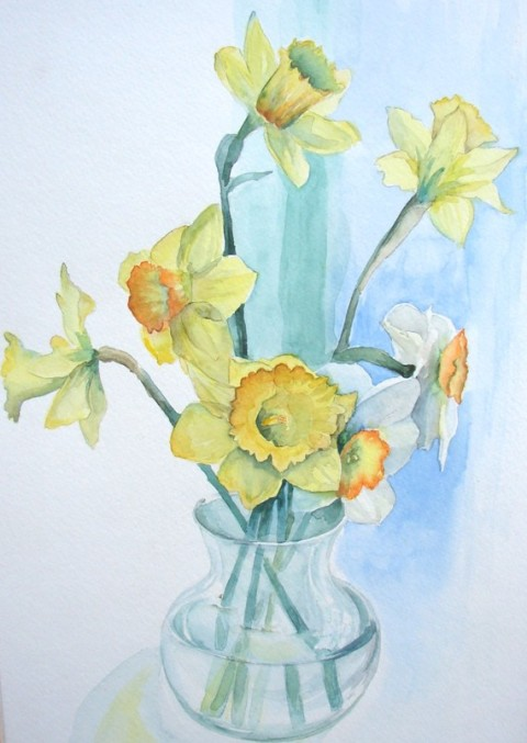 "Daffodil watercolor, original, yellow and green, 14""x16"""