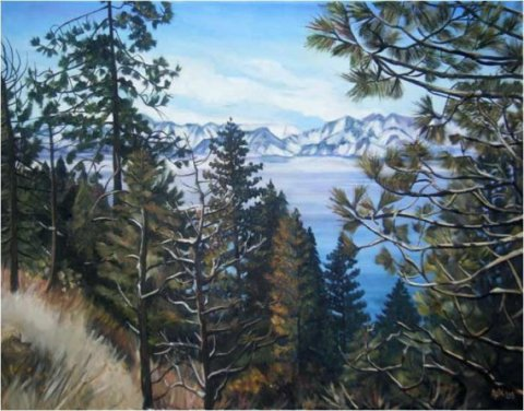 Lake Tahoe Landscape Painting- 28x22in