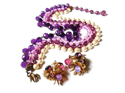 Signed Miriam Haskell Necklace Earrings Purple Art Glass Beads Rhinestone Baroque Pearls Gold Brass Vintage Jewelry Mid Century