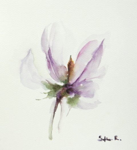 Original Watercolor Painting of Purple Lavender Flower - Flower of My Heart - Abstract Flower Watercolor Art