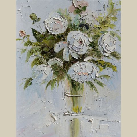 ORIGINAL Oil Painting White Mist 23 x 30 Palette Knife Colorful Flowers Roses White MIst Modern Textured Floral Green Vase ART by Marchella
