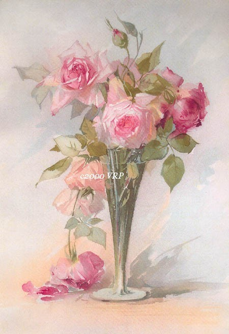 PRINT FREE SHIP Fragrant Cabbage Roses Aulich