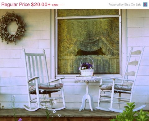ON SALE Front Porch Photograph cozy, antique chair, floral wreath, Americana Art, country decor, farmhouse decor white rocking chairs