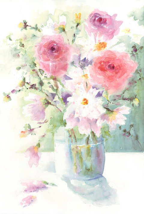 Vase of Spring flowers Roses and Cosmos Original Watercolor Painting