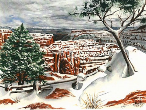 Bryce Southwest Landscape Desert Painting, Print from Original Watercolor, 10x15, Snow, Cactus