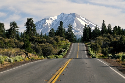 Mount Shasta and road