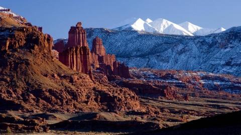 La Sel Mountains Near Moab Utah Winter Desert Rocks Wallpapers Wide Mountain