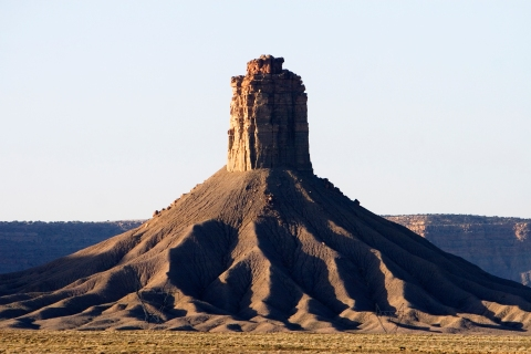Chimney Rock, an abrupt butte, juts skyward near Cortez